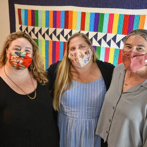 Seven Sisters Midwifery and Community Birth Center co-owners Kirsten Kowalski, center, and Ginny Miller, right, are joined by their practice manager, Katie Rubinstein, Wednesday, Aug. 19, 2020.
